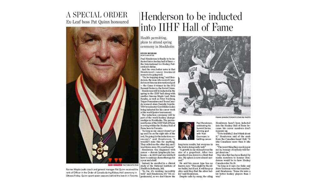 Former Toronto Maple Leafs coach Pat Quinn receives Order of Canada