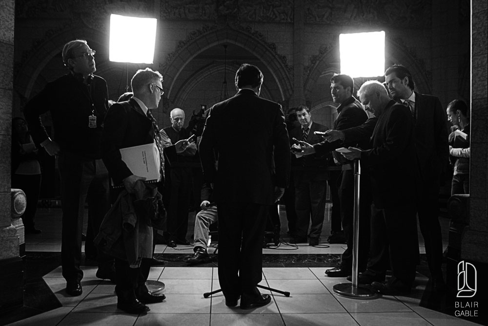 Minister of Finance Flaherty speaks following the delivery of the budget on Parliament Hill in Ottawa