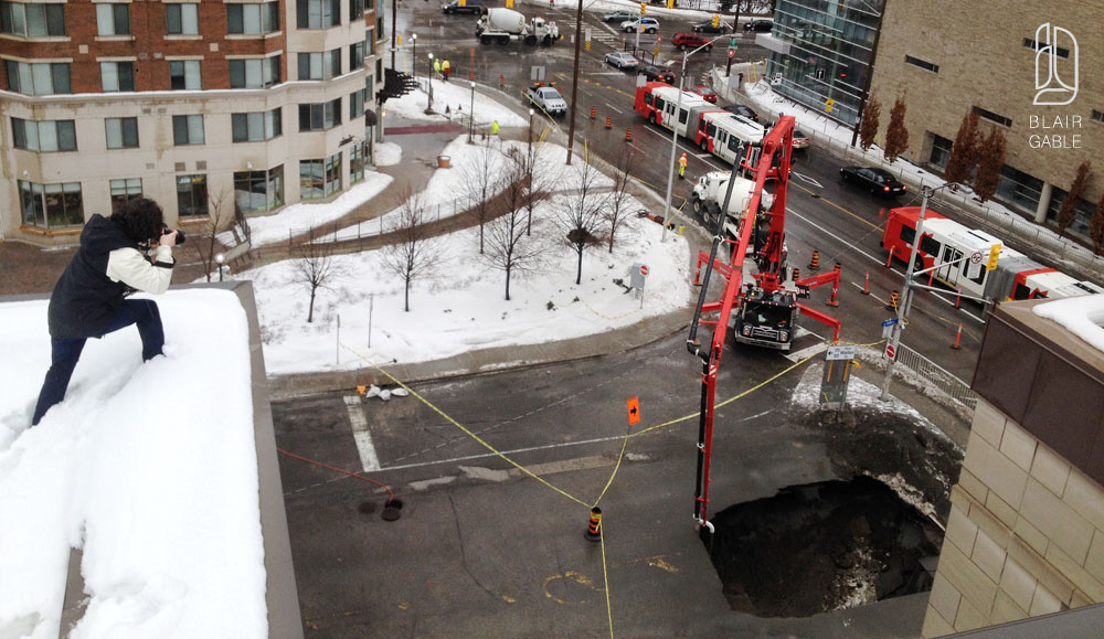 A sinkhole at Laurier Ave E and Waller Street in Ottawa
