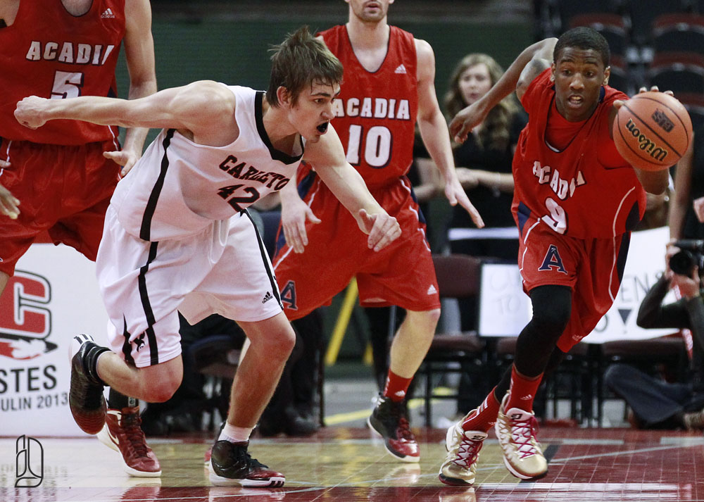 Acadian Axemen play the Carleton University mens basketball game in Ottawa