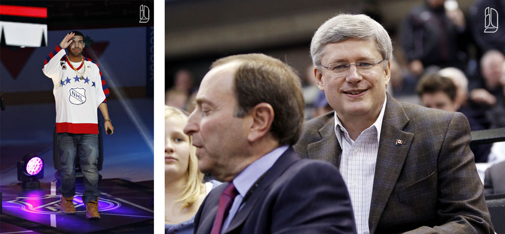 Harper, Bettman, Drake at NHL all-star game in Ottawa