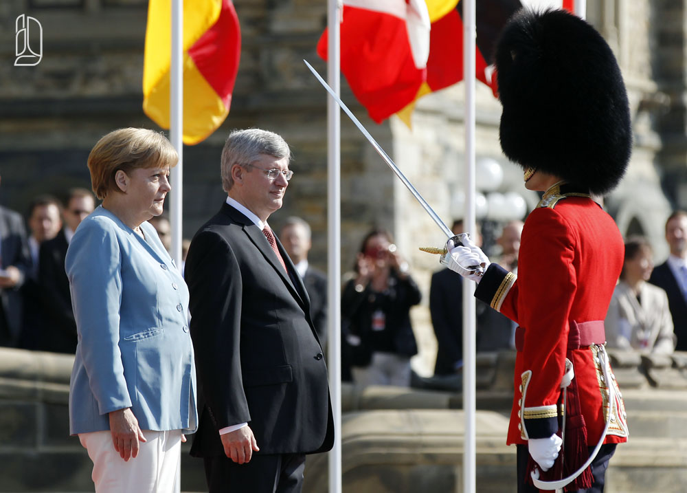 German Chancellor Merkel with Canada's Prime Minister Harper