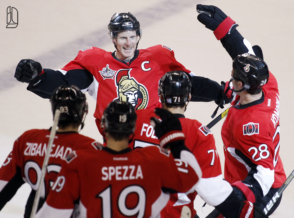 Ottawa Senators' captain Alfredsson celebrates goal