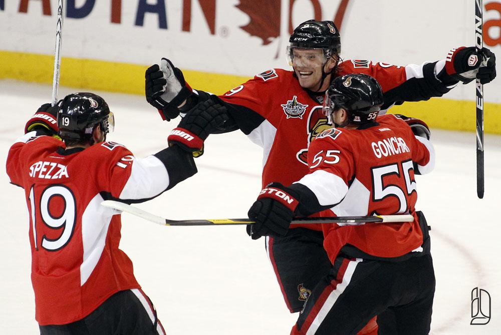 Ottawa Senators' Michalek celebrates his game winning goal against the Columbus Blue Jackets
