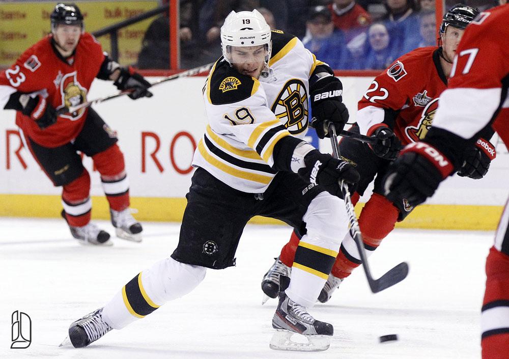 Boston Bruins' Seguin takes a shot on net