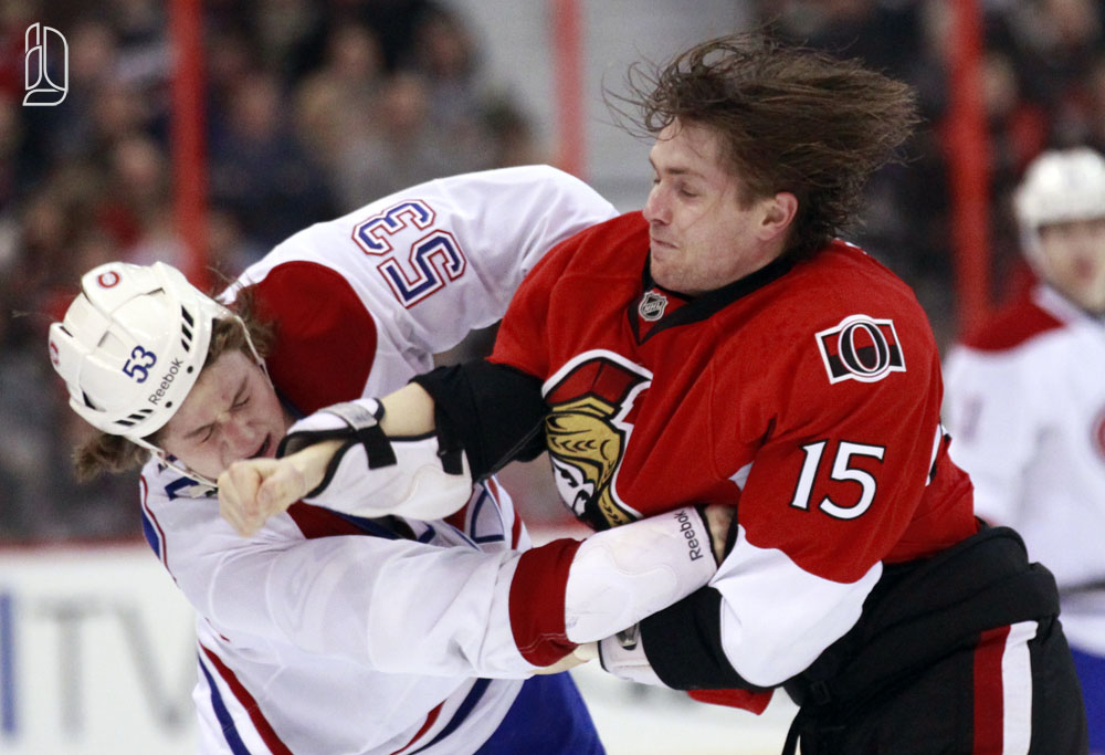 Ottawa Senators' Smith fights Montreal Canadiens' White