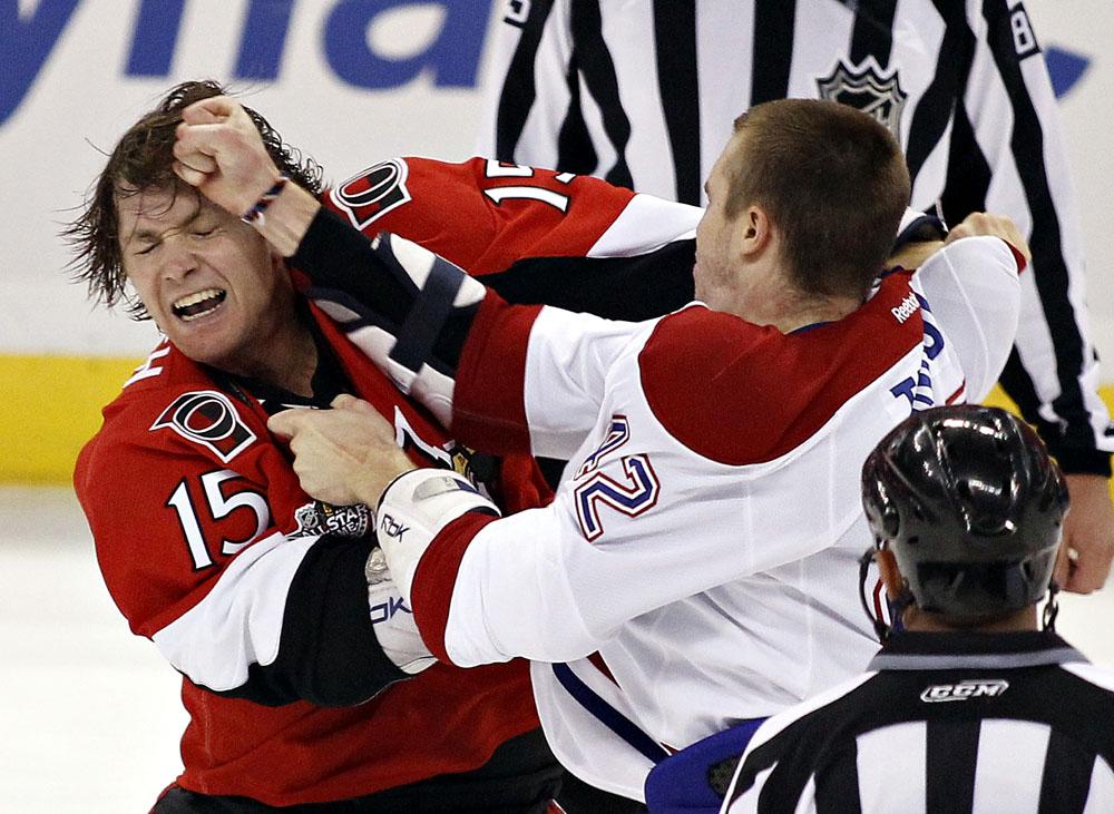 Ottawa Senators' Smith fights Montreal Canadiens' Tinordi