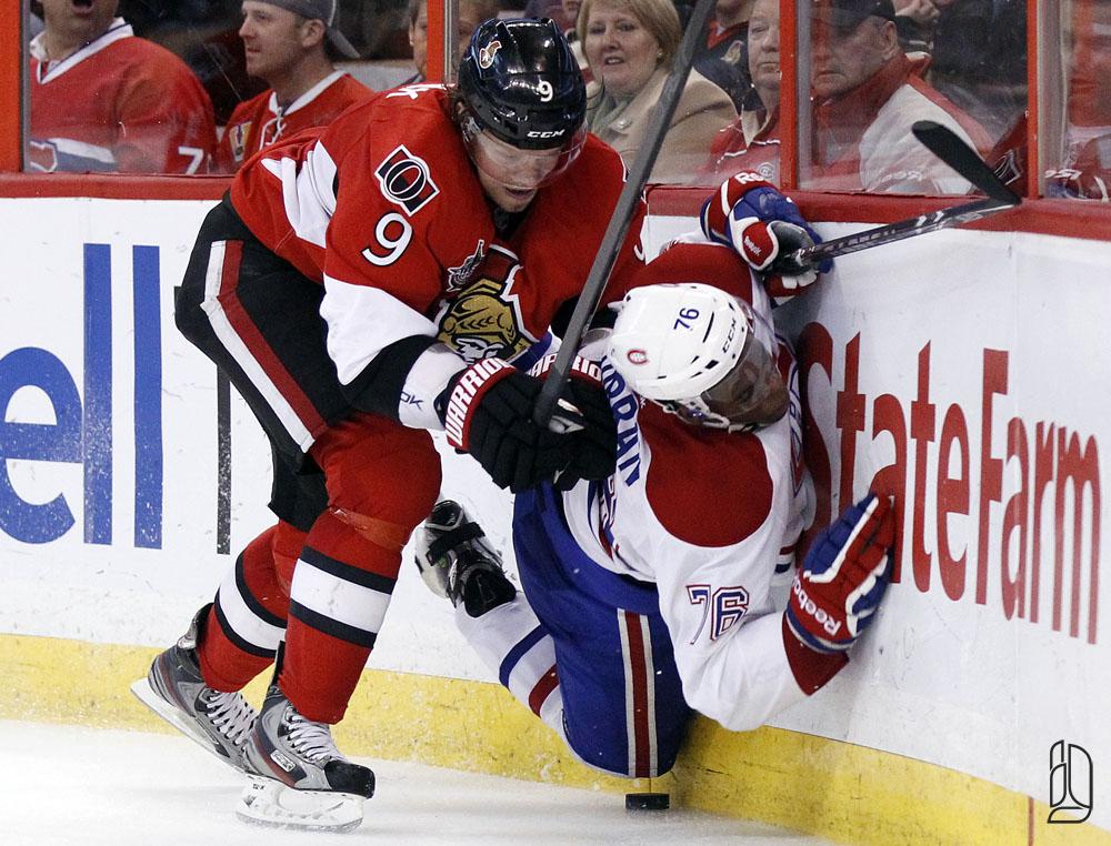 Senators' Michalek hits Canadiens' Subban