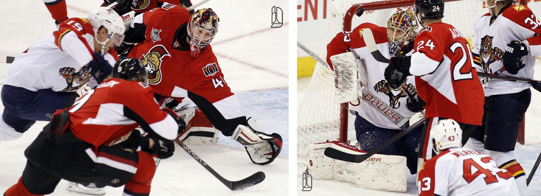 Ottawa Senators' Anderson and Michalek attempt to stop Florida Panthers' Upshall
