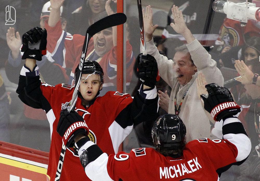 Ottawa Senators' Da Costa celebrates his goal against the Florida Panthers with Michalek