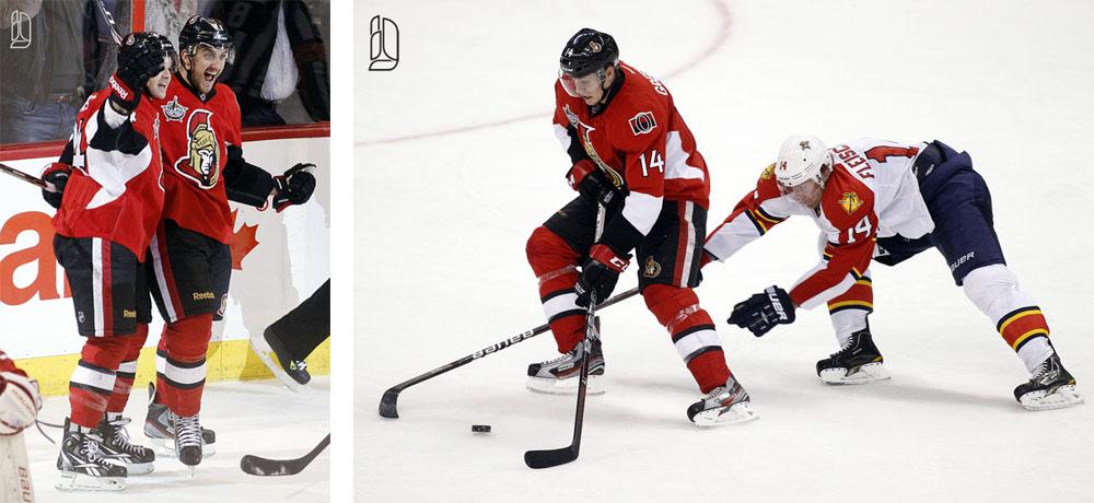 Ottawa Senators' Greening keeps the puck from Florida Panthers' Fleischmann before scoring